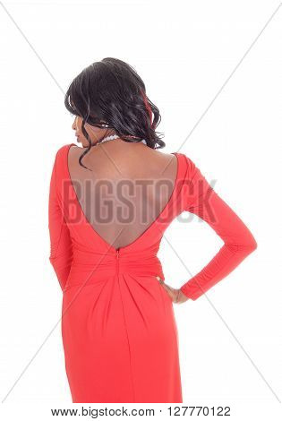 A lovely slim African American woman in a red dress and curly long black hair standing from the back isolated for white background.