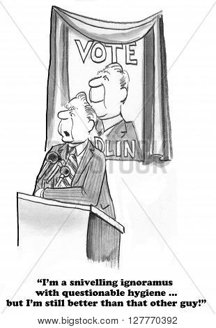 Political cartoon about a candidate giving a speech but not telling the truth.
