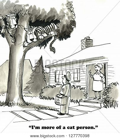 Cartoon about being a cat person rather than a dog person.