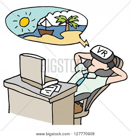An image of a businessman virtual reality vacation.