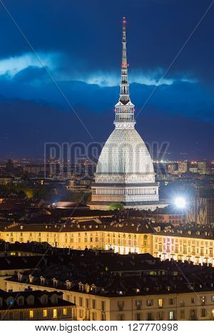 Glowing Cityscape Of Torino (turin, Italy) At Dusk