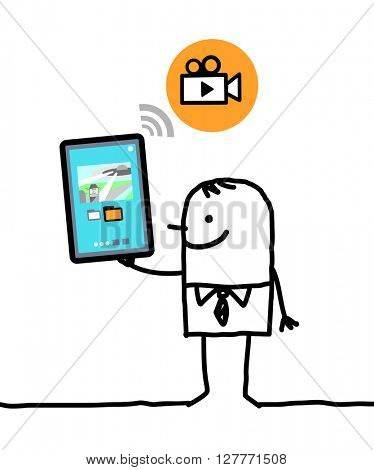 cartoon character with tablet - video