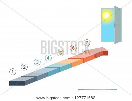 Template infographics from colored parts arrows and doorway with sky sun on white background numbered for 7 positions