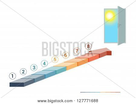 Template infographics from colored parts arrows and doorway with sky sun on white background numbered for 8 positions
