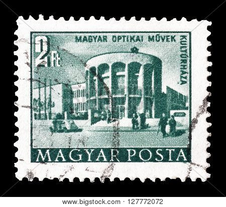 HUNGARY - CIRCA 1953 : Cancelled postage stamp printed by Hungary, that shows Optical works house of culture.