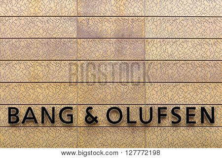 Herning, Denmark - April 9, 2016: Facade of Bang Olufsen store in Herning. Bang Olufsen is a Danish consumer electronics company that designs and manufactures audio products, television sets, and telephones