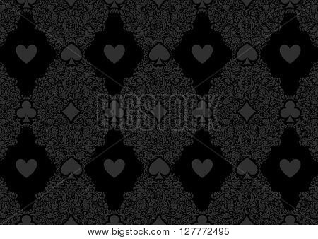 Black seamless casino gambling poker background or dark  damask pattern and cards symbols