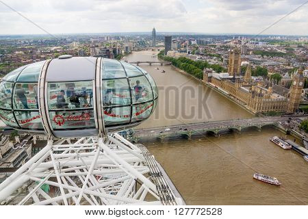 London, United Kingdom, June 8 2015: View of London cityscape from the top of the London Eye