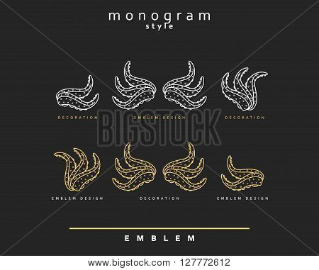 Seafood restaurant vintage outline icon emblem Sea monogram style. Sea food. Octopus marine theme . Abstract Elegant octopus design template. Linear style.