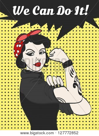 vector subculture punk gothic woman with signature we can do it.