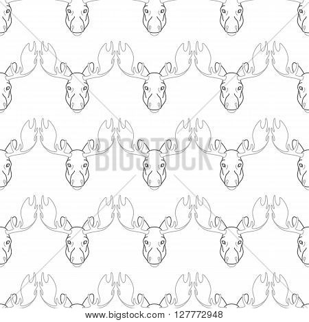 Pattern background with a deer  seamless patterns with elk. Head pattern elk . Pattern design seamless.