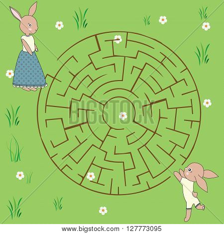 Maze game: mother rabbit and her baby