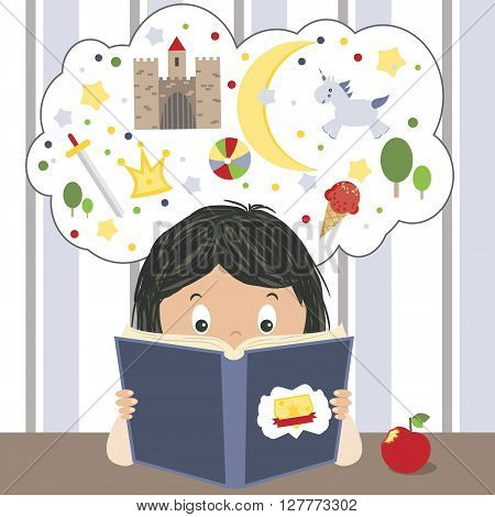 Kid reading fairytales book and dreaming about adventures vector illustration