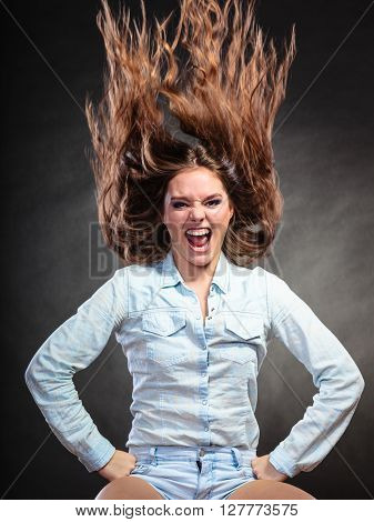 Happy And Ecstatic Woman Girl Having Fun. Motion.