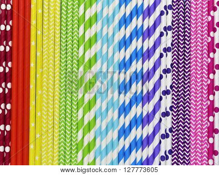 Bright Background Of Colorful Paper Straws .