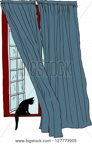 Open Window With Black Cat On Ledge