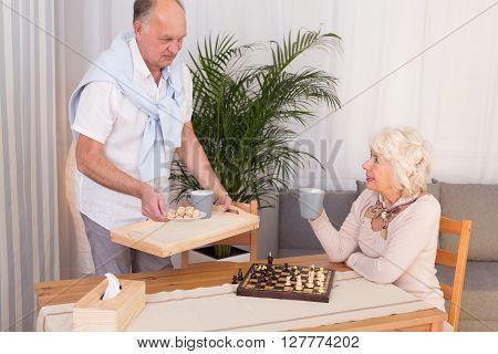 Tea Break During Chess Contest