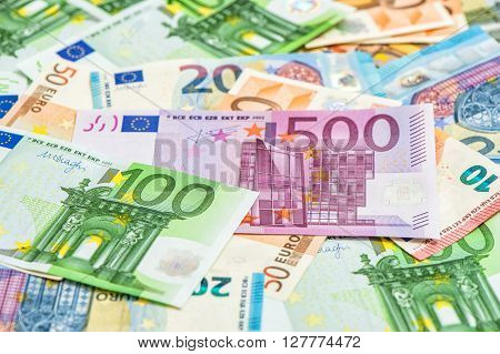 Closeup of euro banknotes. Money background. European currency