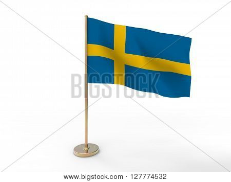 flag of Sweden. 3D illustration on white background with shadow.
