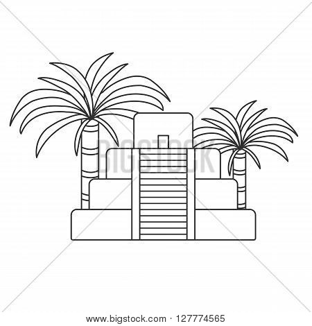 Vector outline illustration with aztec pyramid and palms. Old aztec mayan civilization concept. Mexico latin america travel. Aztec culture and heritage. Mexico tourism vector background