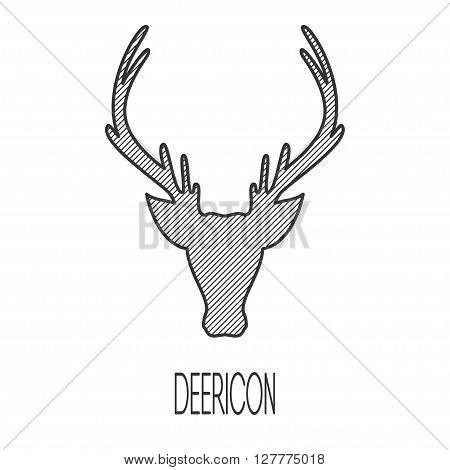 Greeting Beautiful card with deer. Logo of animal made in vector. Deer Illustration for design, pattern, textiles. Hand drawn map with deer graphic. Use for childrens clothes, pajamas, web sites