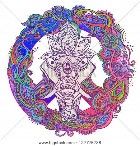 Hippie style. Ornamental retro background Love and Music with hand-written fonts hand-drawn doodle background and textures Hippy color vector illustration. Retro 1960s, 60s, 70s. Elephant ornate