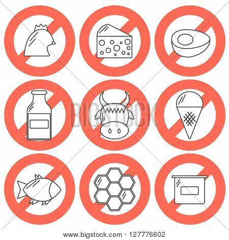 Vector icons with food prohibited for vegans. Healthy lifestyle. Go vegan concept. Vegan rules for health. Outline objects with prohibited sign: meat dairy products fish poultry eggs honey