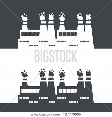 Vector illustration with factory in white and black. Industrial environment pollution concept. Factory flat silhouettes. Vector smoke plant buildings. Ecology and environment pollution concept
