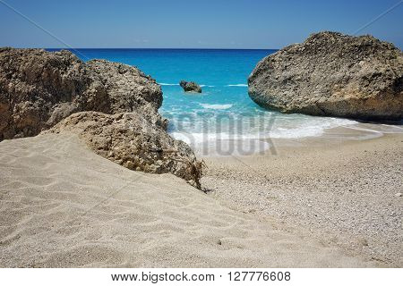 Sunny Day at Megali Petra beach, Lefkada, Ionian Islands, Greece