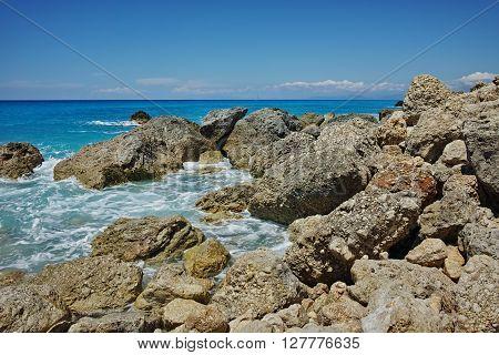 Panoramic view of Megali Petra beach, Lefkada, Ionian Islands, Greece