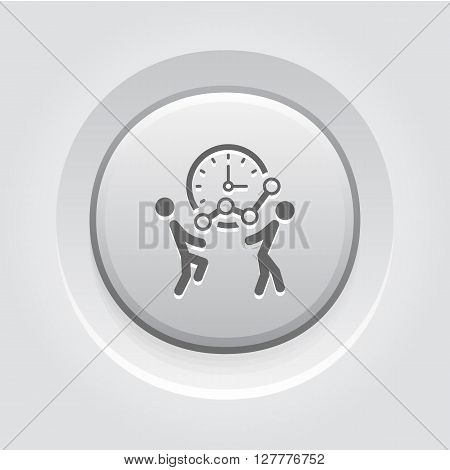 Time for Growth Icon. Business Concept. Grey Button Design