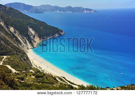Panoramic View of beautiful Myrtos beach, Kefalonia, Ionian islands, Greece