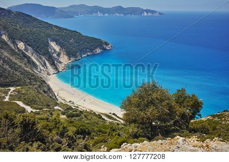 Blue waters of Myrtos beach, Kefalonia, Ionian islands, Greece