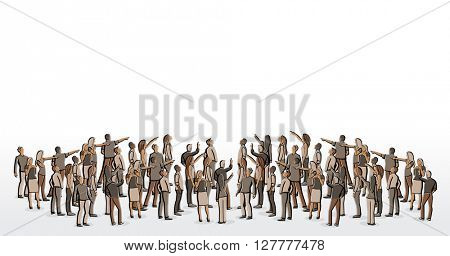 Big group of people looking and pointing