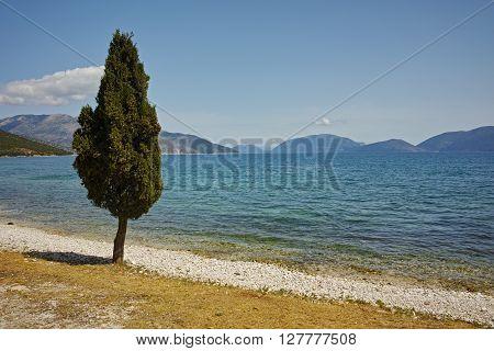 Beach in village of Karavomilos, Kefalonia, Ionian islands, Greece