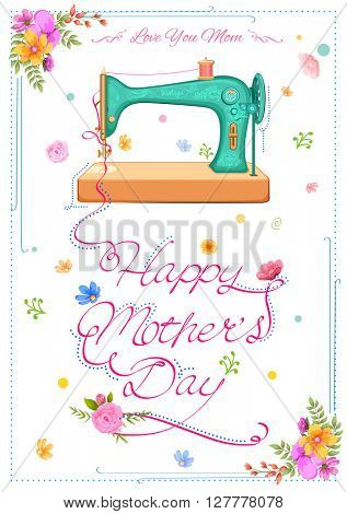 illustration of colorful Happy Mother's Day card with retro sewing machine