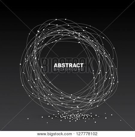 Abstract black and white vector background made from points and circles. Abstract Geometry. Geometrical abstract shape. Dark version