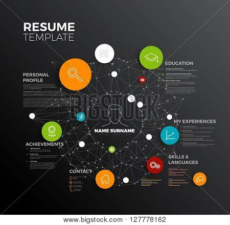 Vector original minimalist cv / resume template - creative profile dark version