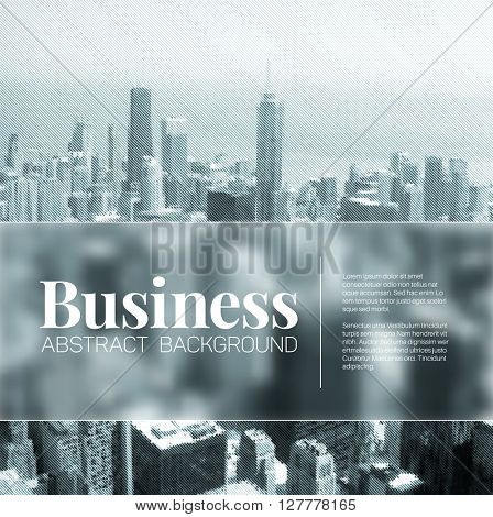 Vector business abstract blurred city background with place for your text - blue version