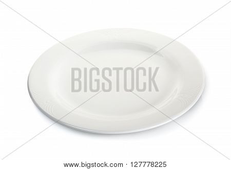 Circle white plate isolated on a white background.