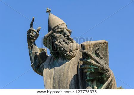 Monumental bronze statue of Bishop Gregory of Nin created in 1929 by Ivan Mestrovic