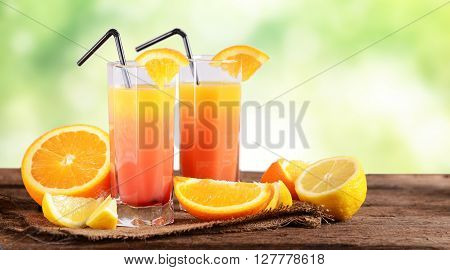 Sex on the beach Cocktail with fresh oranges