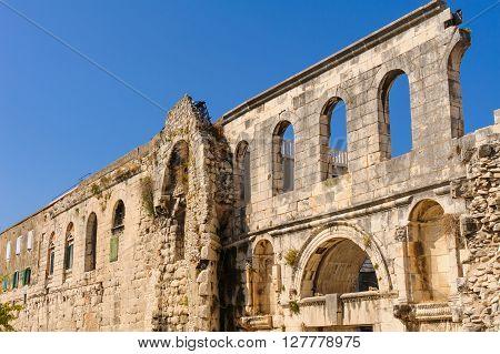 Silver Gate (Porta Argentea) on the east side of Diocletian's Palace in Split Croatia