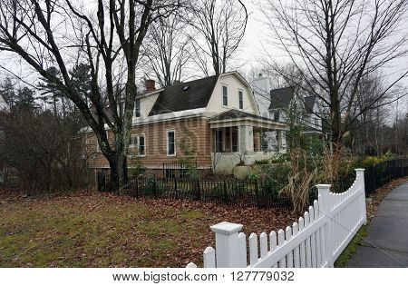 A home with a metal picket fence in Harbor Springs, Michigan.
