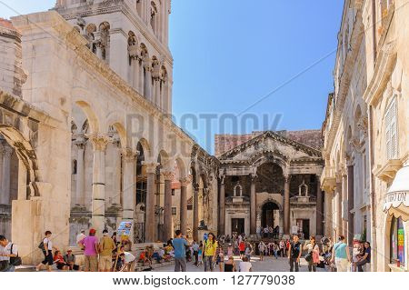 SPLIT CROATIA - SEPTEMBER 2 2009: Prothyron and Peristyle at the Diocletian Palace