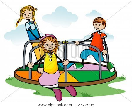 Kids on Roundabout - Vector