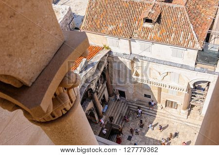 SPLIT CROATIA - SEPTEMBER 2 2009: View from the bell tower of the Prothyron and southwest portion of the Peristyle