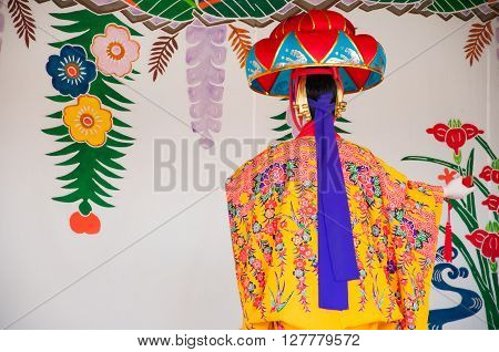 Okinawa Japan - March 10 2013 : Unidentified female dancer performing Okinawa traditional dance at Shuri Castle