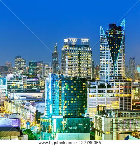 Bangkok Cityscape, Business District With High Building, Thailand.