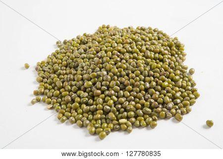 heap of fresh green Mung beans background
